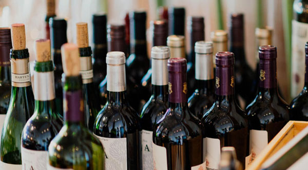wine bottles at a party